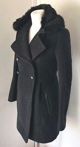 Comptoir in scuro lana collo pelliccia 8 e Grigio nera sintetica taglia Des Cotonniers 8rqwR8