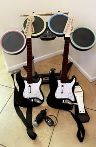 Wii Rock Band Full Set 2 Wireless Guitars Drums Mic Bundle With Pedal & Sticks