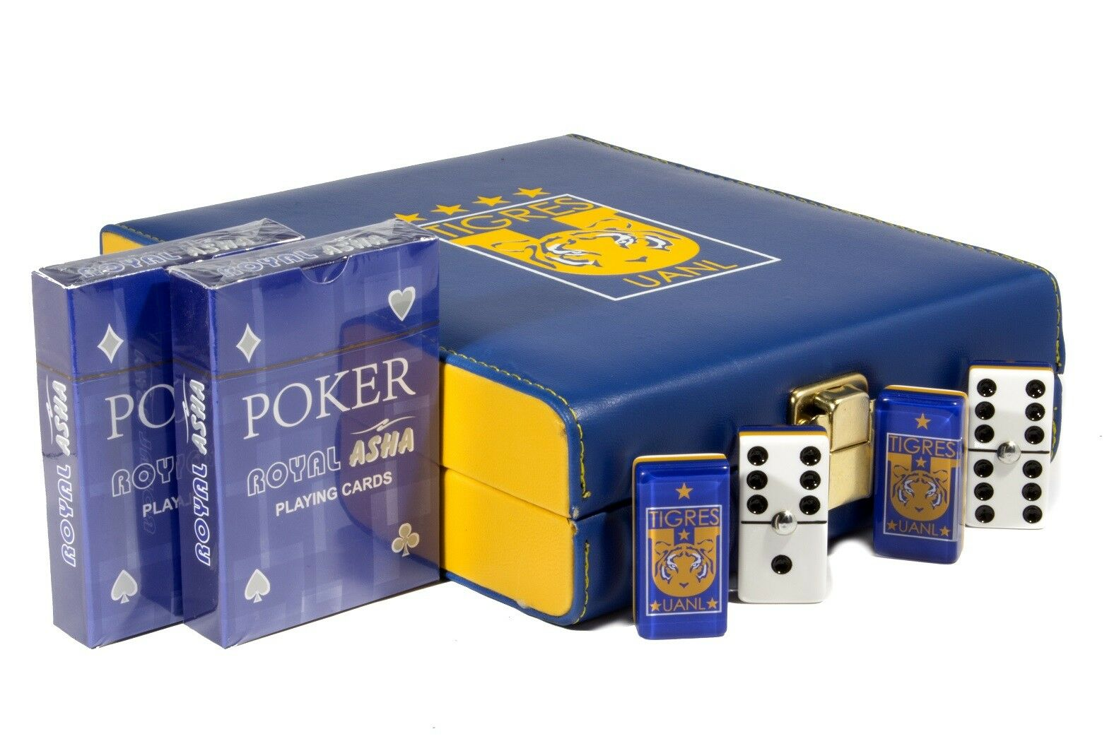 Tigres UANL Deluxe Set 2 Games  Domino, 2 Poker Cards