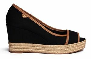 706df15bf89e3a Details about TORY BURCH BLACK ROYAL TAN MAJORCA LOGO PLATFORM WEDGE PEEP  TOE SZ 9.5  225 NEW