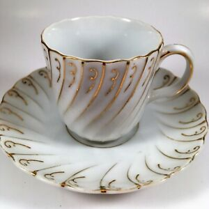 Details about UCAGCO China cup and saucer white and gold trim made in  occupied japan