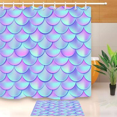 Beautiful Mermaid Tail Pattern Fish Scales Shower Curtain /& 12 Hook Bathroom Mat