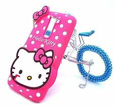 For LG K7 K8 / Tribute 5 - PINK HELLO KITTY Soft Rubber Silicone Case Skin Cover