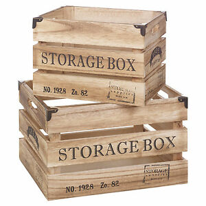 Set-Of-2-Brown-Shabby-Chic-Country-Club-Nested-Wooden-Crates-Fruit-Storage-Boxes