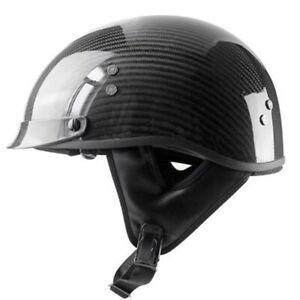 DOT-Real-Carbon-Fiber-Motorcycle-Half-Helmet-w-Sun-Visor-Gloss-Black-for-Chopper