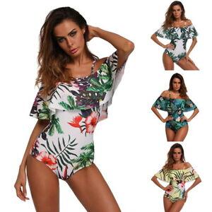 Womens-Off-Shoulder-Swimsuit-Swimwear-Push-Up-Bathing-Suit-Bikini-CDO