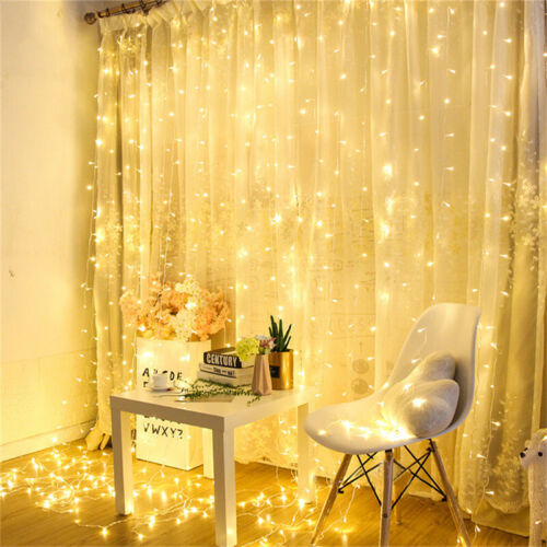 300 LED 3m Fairy Curtain String Lights Wedding Party Room Decor Holiday White Lw