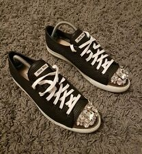 Miu Miu  Women's, Trainers, Sneakers Shoes With Crystal Studded Toe cap
