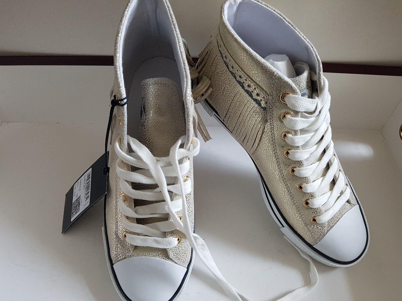 TRUSSARDI JEANS Damen Schuhe Chucks 38/39 Sneaker Leder gold Gr. 38/39 Chucks NP  NEU 8ef8d2