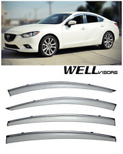 WELLVISORS Side Window Visors with Chrome Trim Rain Guard Mazda 6 2014-2016