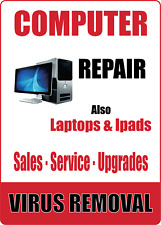 Computer Repair Virus Removal Storefront Advertising Adhesive Vinyl Sign Decal