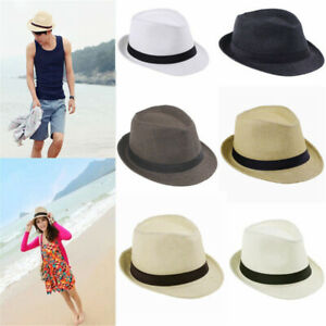 Men-Women-Summer-Beach-Sun-Straw-Fedora-Hat-Trilby-Cuban-Panama-Wide-Brim-Cap-TR
