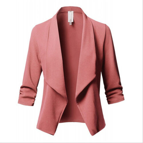 Women Lapel Blazer Open Front Slim Fit Long Sleeve Cardigan Short Jacket Outwear