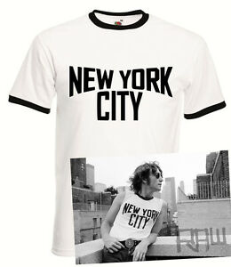 John Lennon Vintage Ringer Black and White New York City T-Shirt The ... 3e320d52f97