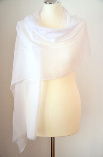 PASSIGATTI Pashmina Schal Stola 70/% Polyester /& 30/% Viskose Weiß ca.180x40cm