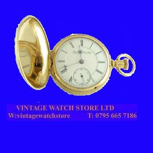 Stunning-14k-Gold-Elgin-B-W-Raymond-15-Jewel-Deco-Hunter-Pocket-Watch-1914