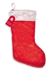 Large-Plush-Santa-Style-Christmas-Stocking-Presents-Gifts-Red-White-62-x-33cm