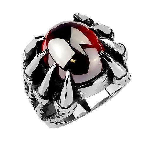 Señores góticos anillo drachenklaue acero inoxidable Dragon garra con cristal rojo