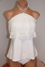 NWT Michael Kors Swimsuit Tankini Bikini 2 pc set Sz L Crochet Halter White