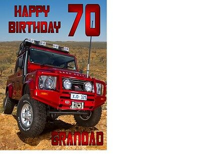 PERSONALISED LAND ROVER JEEP BIRTHDAY CARD A5 ANY NAME AGE GREETING OCCASION