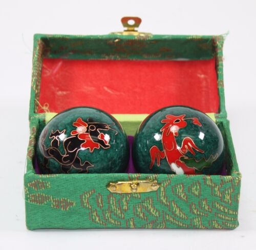 Set Green Chinese Baoding Phoenix Dragon Cloisonne Iron Ball Hand Stress Relief
