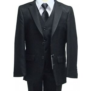 BRAND NEW BOY FORMAL 4 PIECE SUIT BOYS PROM WEDDING SUIT BLACK AGES 1 TO 10