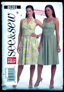 52413fb33096 UNCUT FF Dress EMPIRE WAIST Gathered HALTER Bodice   Skirt SEWING ...