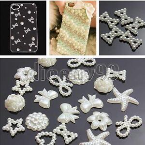 50pcs-DIY-Craft-Flatback-White-Resin-Bow-Flower-Heart-Pearl-Embellishments-Phone