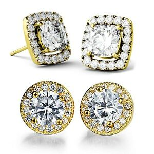 e97b400979fd0 Details about 0.80Ct Created Crystal Square Halo Stud Earrings 14k White  Gold Plated Studs