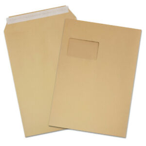 Farbe braun Briefumschläge Haftklebung mit Fenster 750 Versandtaschen C4