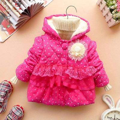 Kinder Baby Mädchen Punkte Dots Winterjacke Winter Hoodie Jacke Mantel Pullover