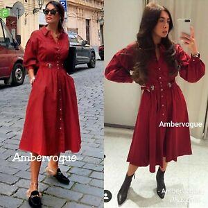 Zara-Midi-Red-Shirt-Dress-Belted-Voluminous-Size-XS-S-M-L