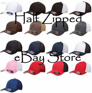 Flexfit Trucker Cap Fitted Mesh Hat 6511 Baseball Hat - One Size ... 6a693d59e283