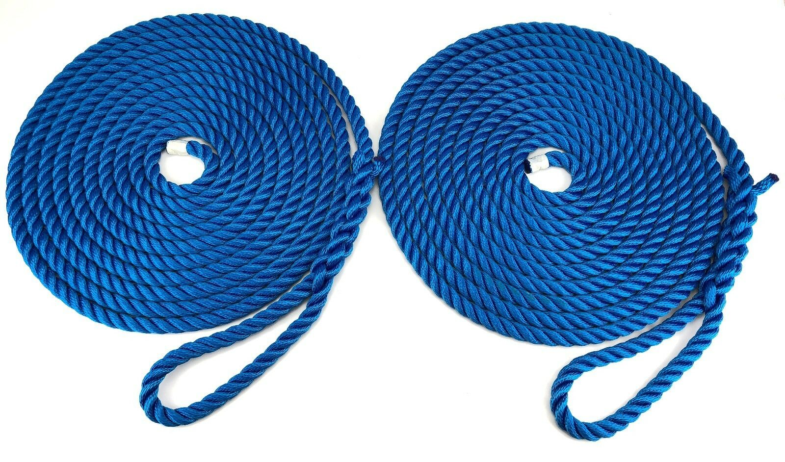 10mm Mooring Ropes,  2 x 16 Metres Of Royal bluee, Boat Lines, Yachts, Canal Rope