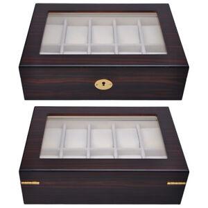 10 Watch Organizer Display Case Ebony Wood Glass Top Jewelry Box
