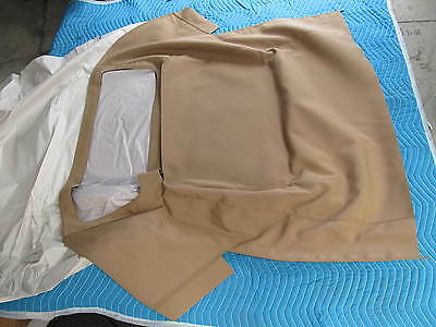 1963-67 Corvette BEIGE CONVERTIBLE TOP &  PADS  STAYFAST -MERCEDES TYPE MATERIAL