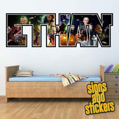 Enfants Personnalisé Nom Autocollants Muraux STARWARS chambre 1