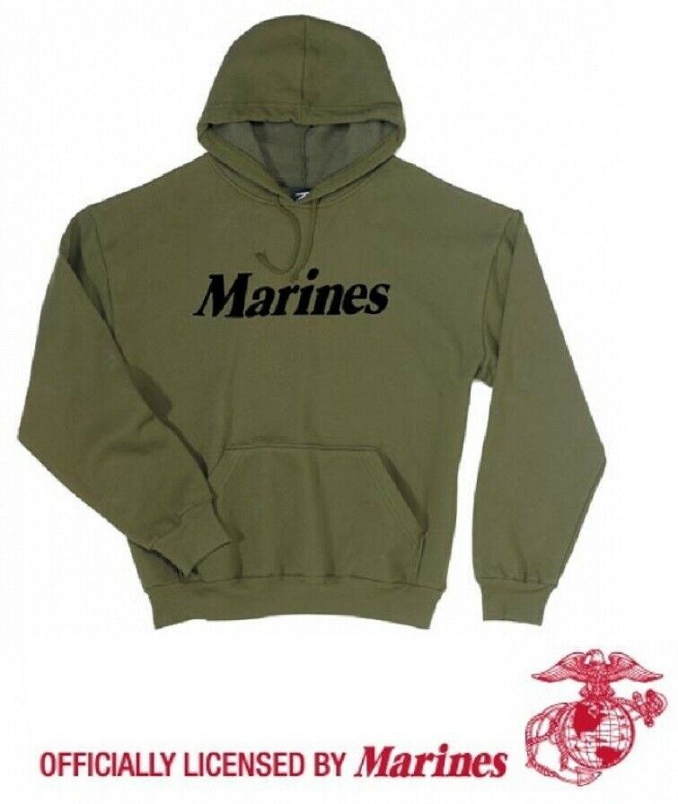 US MARINES Hoodie con Cappuccio Maglione SPORT HOODY USMC Felpa Sport Shirt verde Oliva M