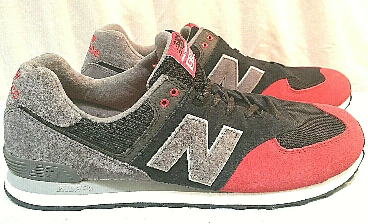 NEW BALANCE 574 CLASSIC MEN'S RUNNING SHOE Size 18 Wide Red  Blk ML574TIU
