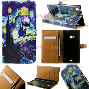 Night-Sky-Moon-Leather-Wallet-Holder-Card-Case-Stand-Cover-For-Various-Phones-XH