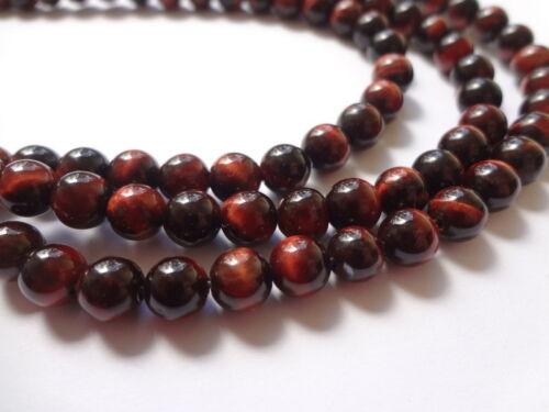 6mm Natural Red Tiger Eye Round Semi Precious Gemstone Beads Half Strand