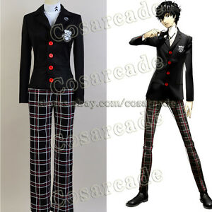 Persona 5 V Protagonist Coat Cosplay Costume Outfit Attire School Uniform Suit