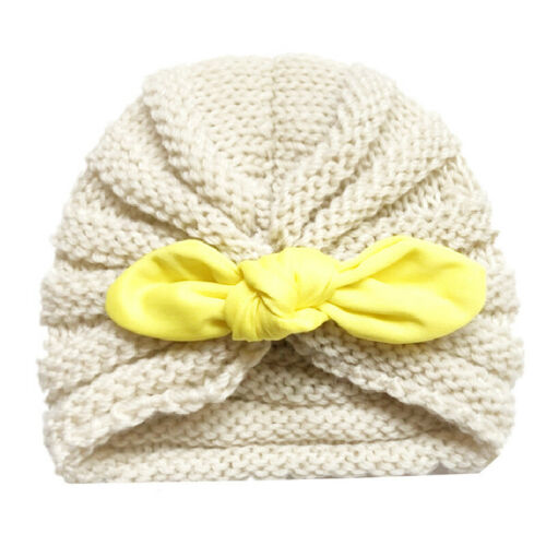 Baby Girls Knitted Wool Turban Rabbit Ears Bowknot Hats Toddler Kids Headwraps