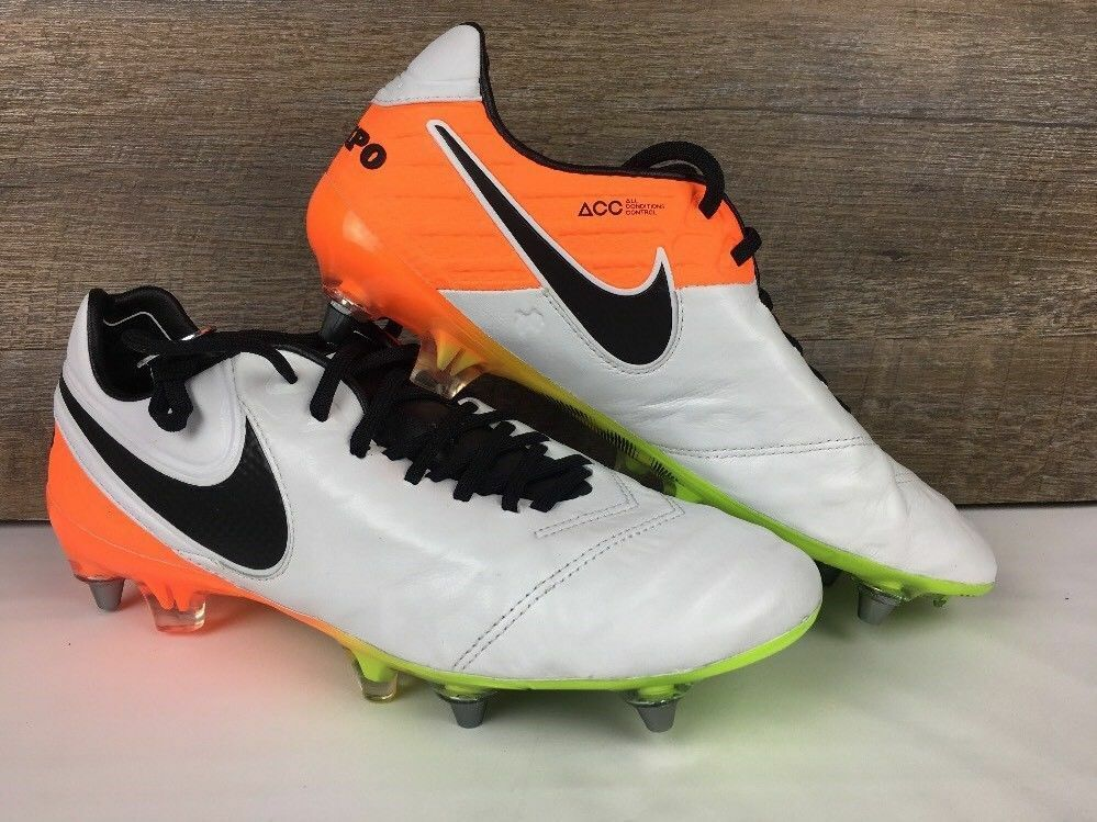 Nike Tiempo Legend 6 SG-PRO White Orange Soccer Cleats 7 +tool wrench