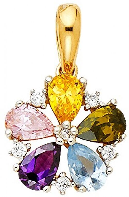 Polished 14K Solid Yellow gold Multi-color Cubic Zirconia Flower Pendant