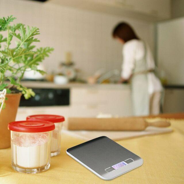 con gran pantalla LCD Kiaitre B/áscula digital de cocina de 5 kg 6 unidades de acero inoxidable funci/ón de tara alta precisi/ón de hasta 1 g medici/ón de l/íquidos