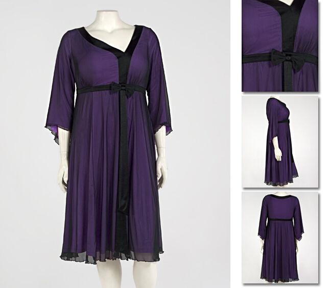 NEW   Zaftique UPTOWN MESH Dress EGGPLANT Purple (Last One ) 1Z   16 18   XL 1X