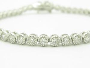 Platinum-Sterling-Silver-White-Sapphire-Round-Cut-Bezel-Tennis-Bracelet-Gift