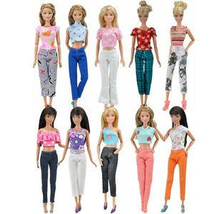 Lot-10pcs-5-Blouse-amp-5-Trousers-Fashion-Casual-Clothes-Outfits-For-Barbie-Doll-S