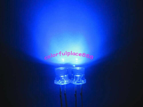 5mm Blue 5000mcd Flat Top Wide Angle LED Lamp Water Clear Bright Leds 1000pcs